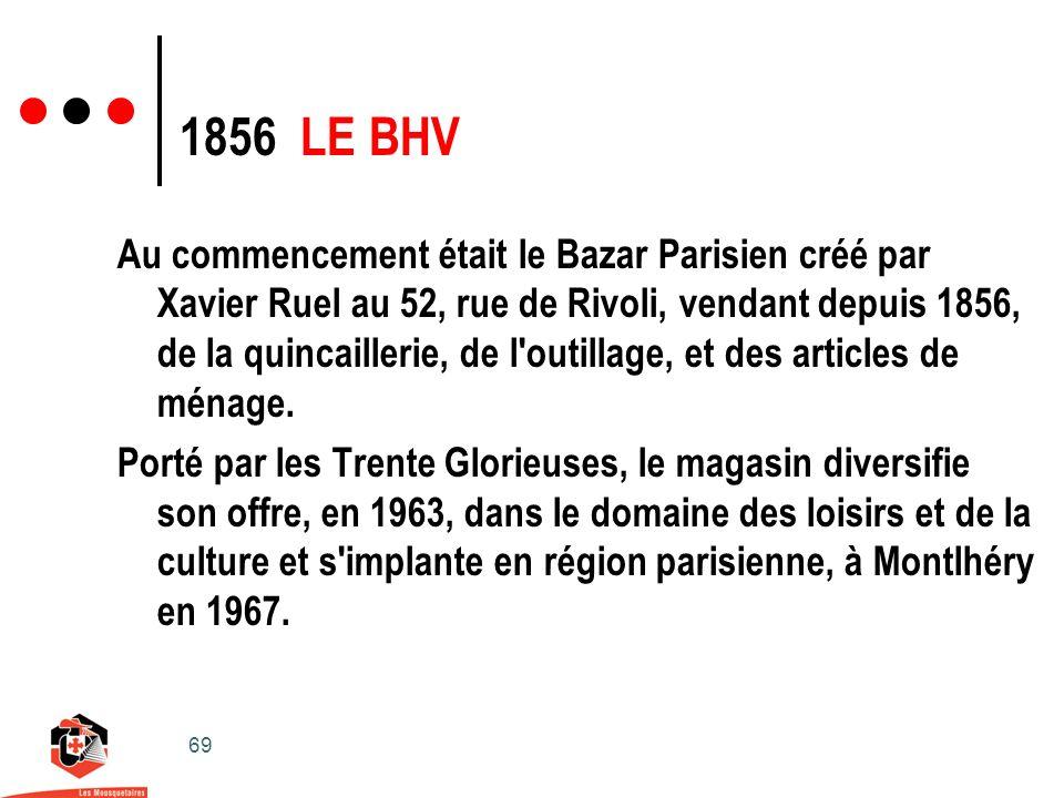 69 Au commencement était le Bazar Parisien créé par Xavier Ruel au 52, rue de Rivoli, vendant depuis 1856, de la quincaillerie, de l outillage, et des articles de ménage.