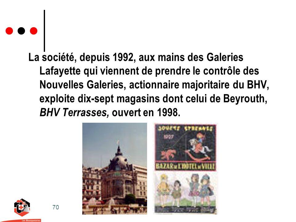 70 La société, depuis 1992, aux mains des Galeries Lafayette qui viennent de prendre le contrôle des Nouvelles Galeries, actionnaire majoritaire du BHV, exploite dix-sept magasins dont celui de Beyrouth, BHV Terrasses, ouvert en 1998.