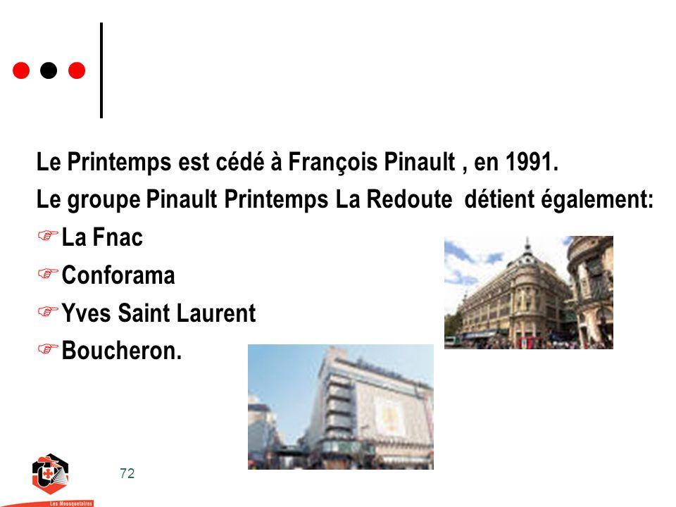 72 Le Printemps est cédé à François Pinault, en 1991.