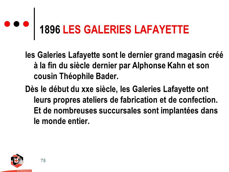 75 les Galeries Lafayette sont le dernier grand magasin créé à la fin du siècle dernier par Alphonse Kahn et son cousin Théophile Bader.