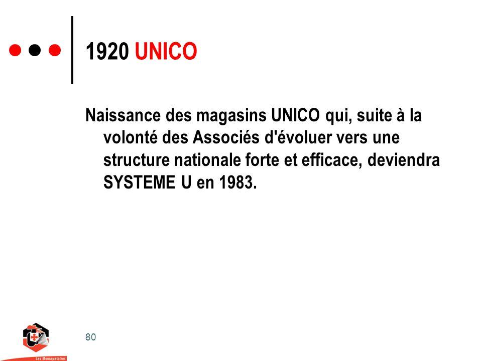 80 1920 UNICO Naissance des magasins UNICO qui, suite à la volonté des Associés d évoluer vers une structure nationale forte et efficace, deviendra SYSTEME U en 1983.
