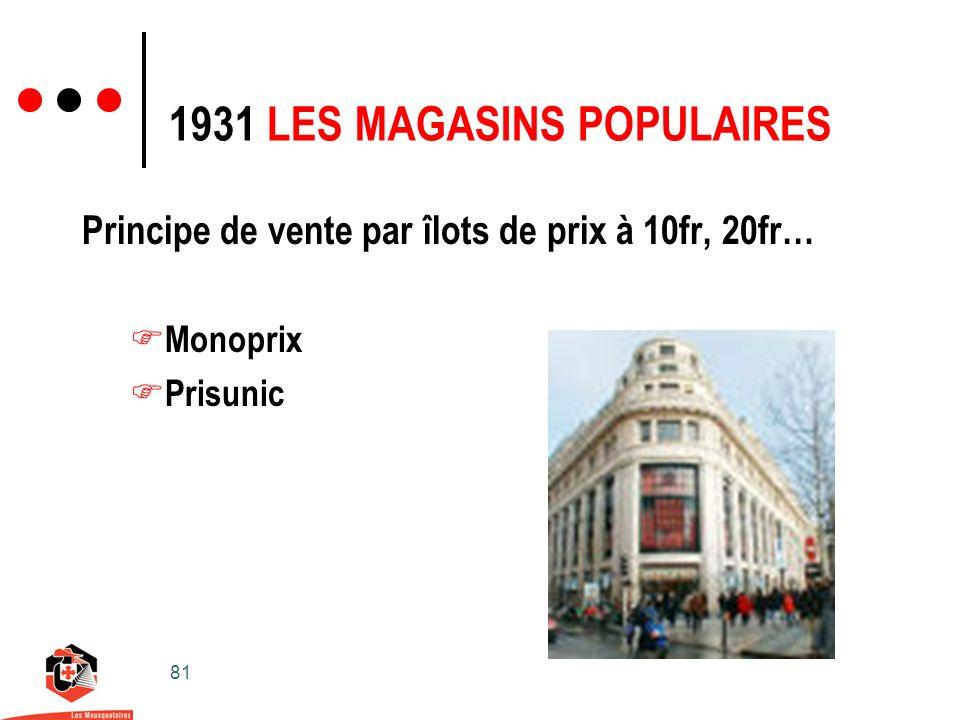 81 1931 LES MAGASINS POPULAIRES Principe de vente par îlots de prix à 10fr, 20fr… Monoprix Prisunic