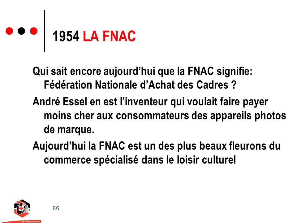 86 1954 LA FNAC Qui sait encore aujourdhui que la FNAC signifie: Fédération Nationale dAchat des Cadres .