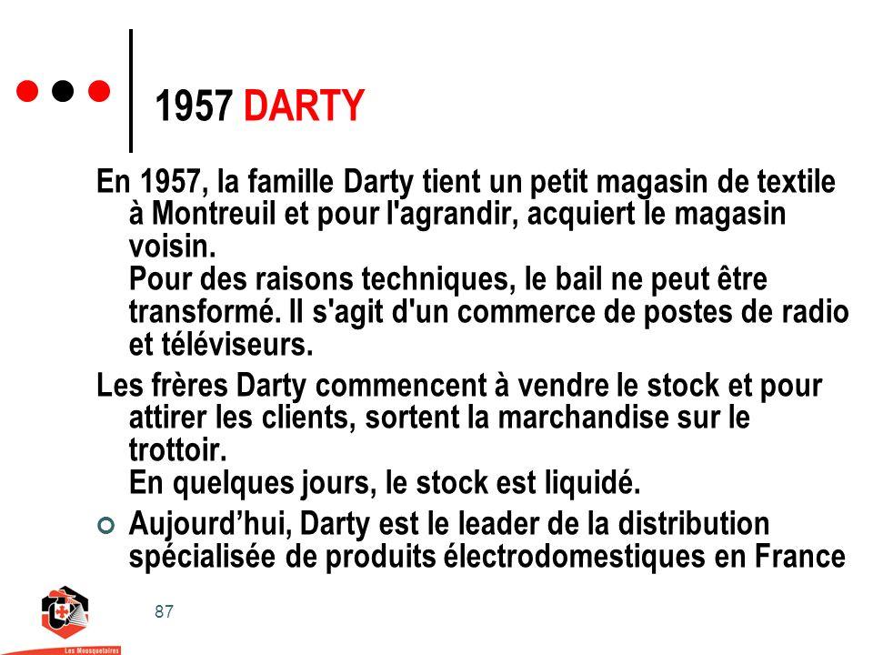 87 1957 DARTY En 1957, la famille Darty tient un petit magasin de textile à Montreuil et pour l agrandir, acquiert le magasin voisin.