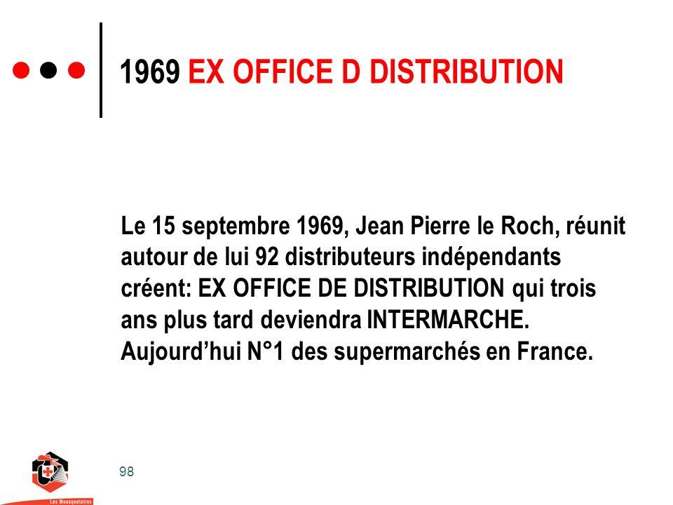 98 1969 EX OFFICE D DISTRIBUTION Le 15 septembre 1969, Jean Pierre le Roch, réunit autour de lui 92 distributeurs indépendants créent: EX OFFICE DE DISTRIBUTION qui trois ans plus tard deviendra INTERMARCHE.
