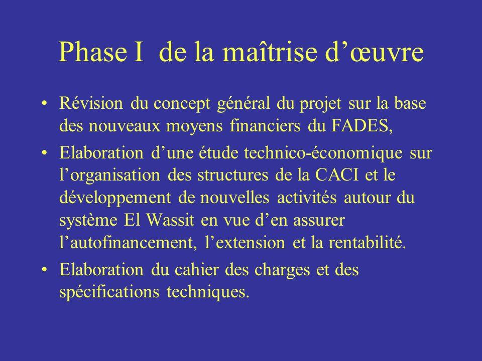 Phase I de la maîtrise dœuvre Révision du concept général du projet sur la base des nouveaux moyens financiers du FADES, Elaboration dune étude techni