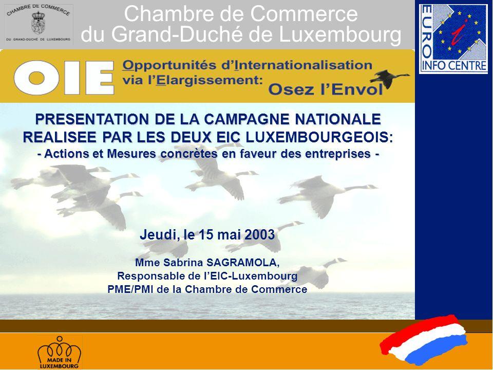 Chambre de Commerce du Grand-Duché de Luxembourg PRESENTATION DE LA CAMPAGNE NATIONALE REALISEE PAR LES DEUX EIC - Actions et Mesures concrètes en faveur des entreprises - PRESENTATION DE LA CAMPAGNE NATIONALE REALISEE PAR LES DEUX EIC LUXEMBOURGEOIS: - Actions et Mesures concrètes en faveur des entreprises - Jeudi, le 15 mai 2003 Mme Sabrina SAGRAMOLA, Responsable de lEIC-Luxembourg PME/PMI de la Chambre de Commerce