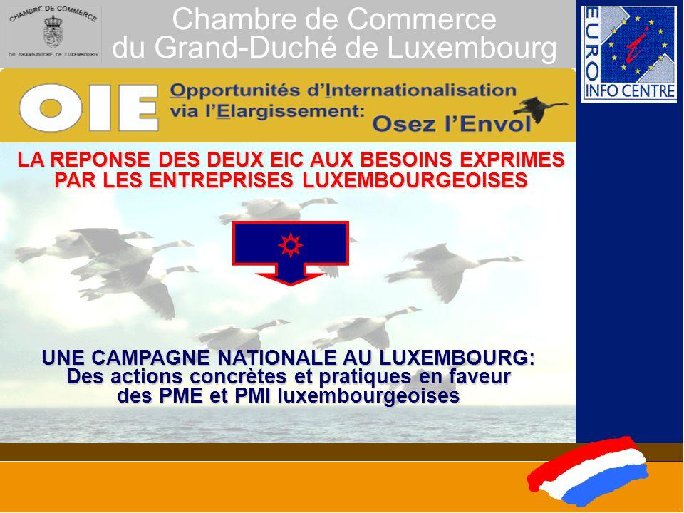 Chambre de Commerce du Grand-Duché de Luxembourg LA REPONSE DES DEUX EIC AUX BESOINS EXPRIMES PAR LES ENTREPRISES LUXEMBOURGEOISES UNE CAMPAGNE NATIONALE AU LUXEMBOURG: Des actions concrètes et pratiques en faveur des PME et PMI luxembourgeoises