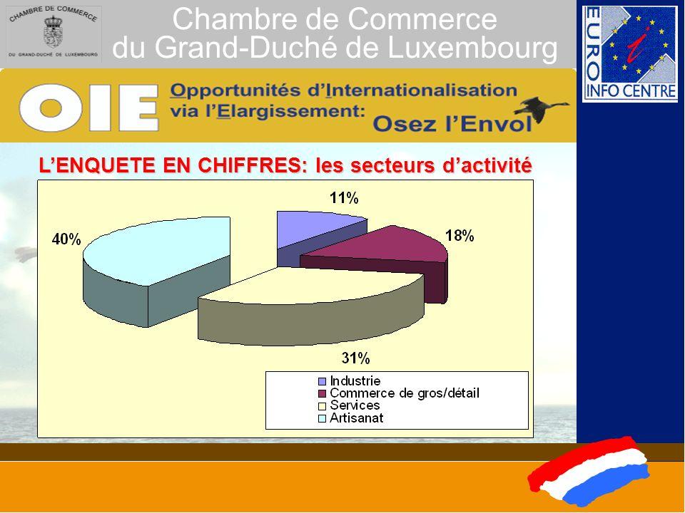 Chambre de Commerce du Grand-Duché de Luxembourg LENQUETE EN CHIFFRES: les secteurs dactivité