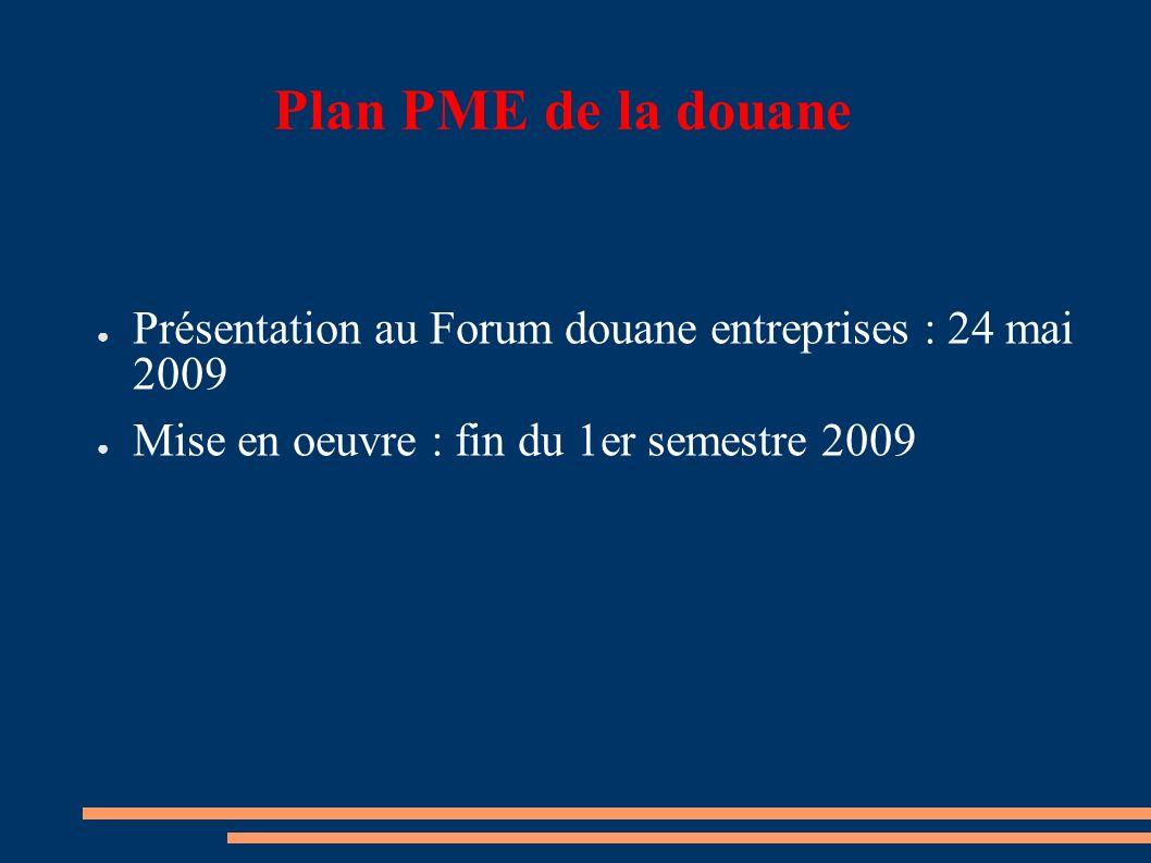 Plan PME de la douane Présentation au Forum douane entreprises : 24 mai 2009 Mise en oeuvre : fin du 1er semestre 2009