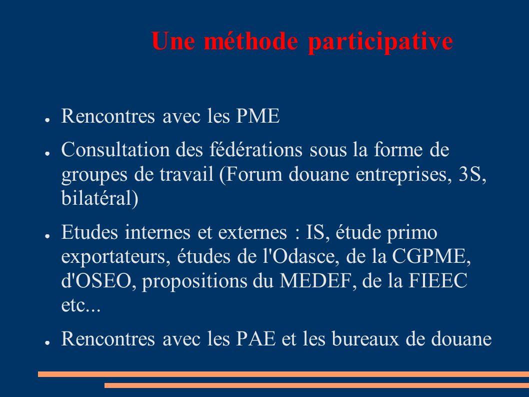 Une méthode participative Rencontres avec les PME Consultation des fédérations sous la forme de groupes de travail (Forum douane entreprises, 3S, bilatéral) Etudes internes et externes : IS, étude primo exportateurs, études de l Odasce, de la CGPME, d OSEO, propositions du MEDEF, de la FIEEC etc...