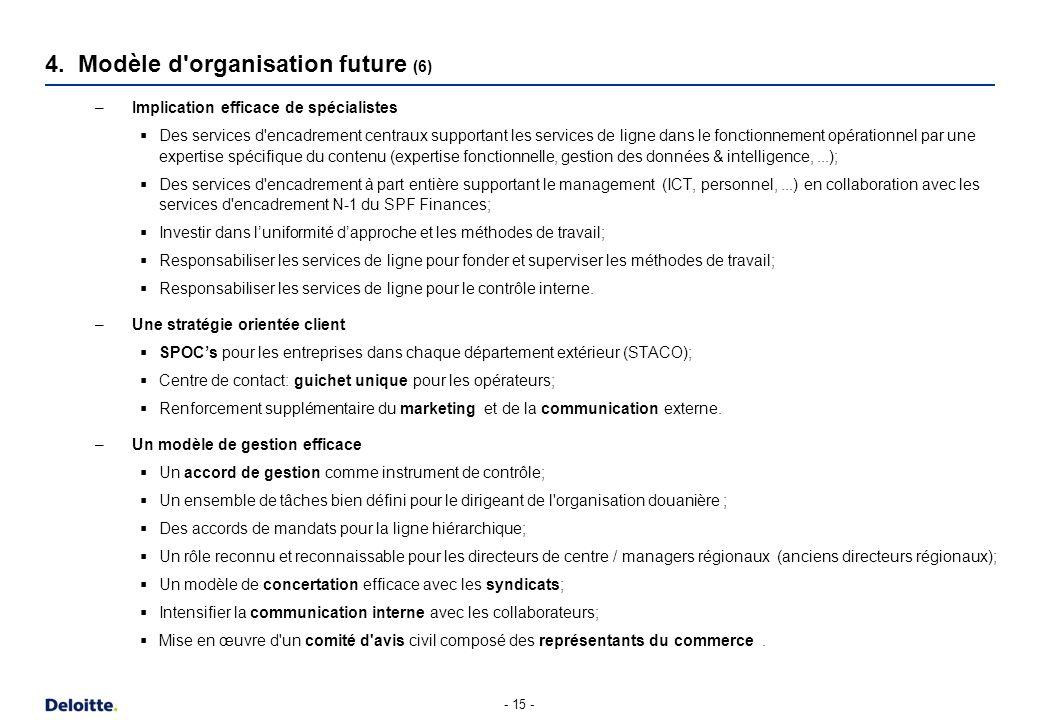 – Implication efficace de spécialistes Des services d'encadrement centraux supportant les services de ligne dans le fonctionnement opérationnel par un