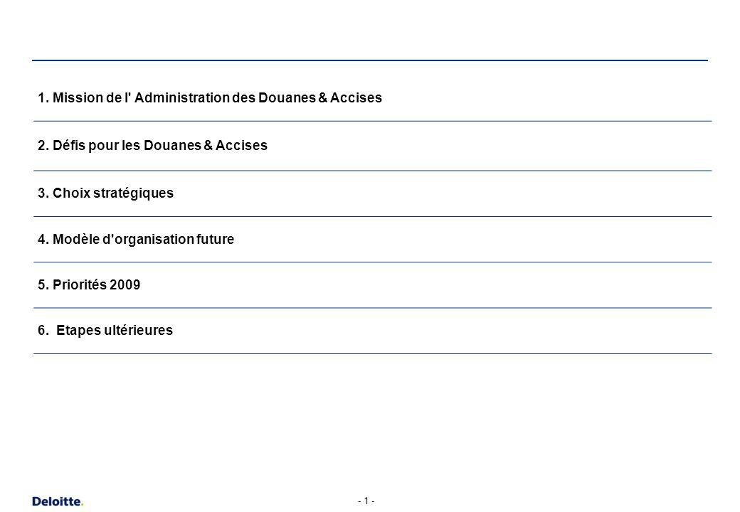 - 1 - 1. Mission de l' Administration des Douanes & Accises 2. Défis pour les Douanes & Accises 3. Choix stratégiques 4. Modèle d'organisation future