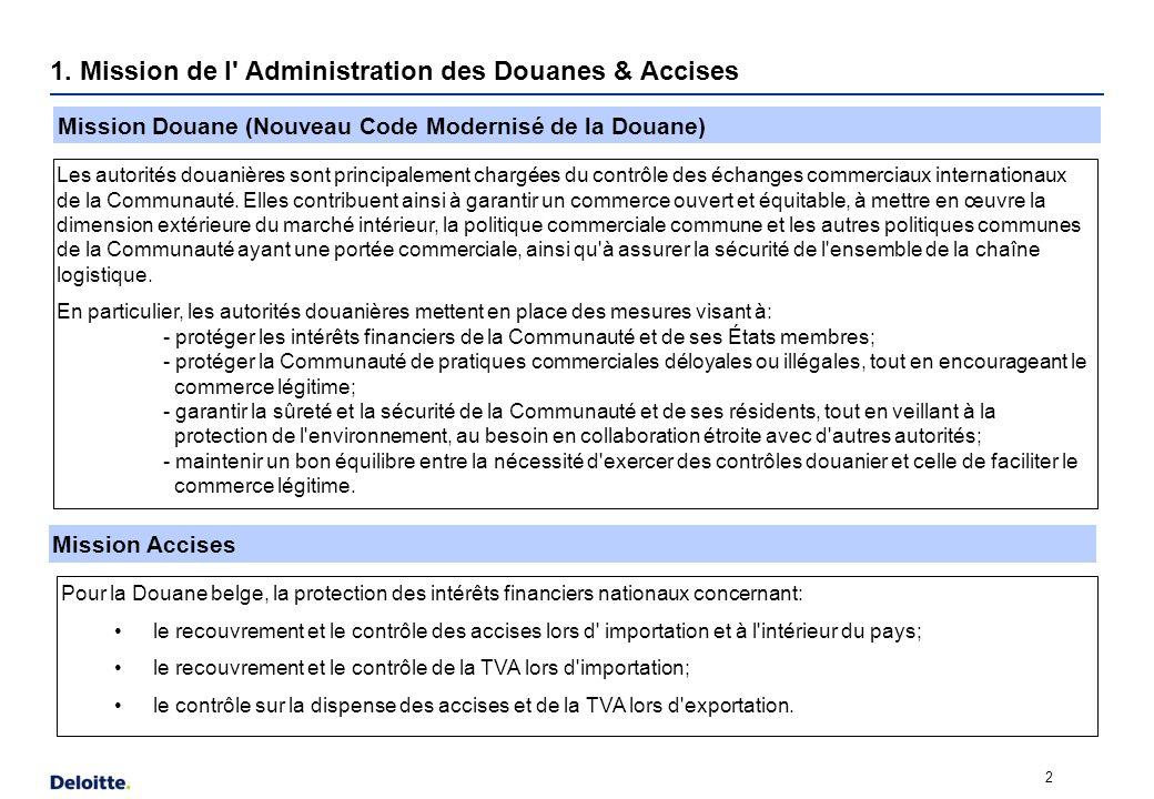 1. Mission de l' Administration des Douanes & Accises 2 Mission Douane (Nouveau Code Modernisé de la Douane) Mission Accises Les autorités douanières