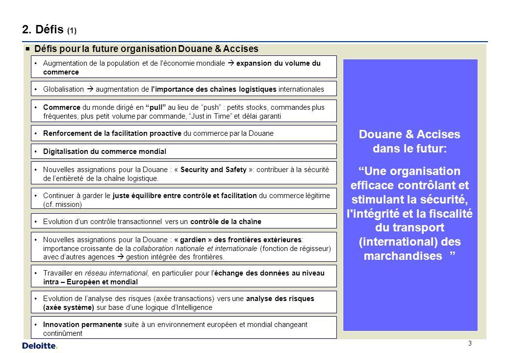 2. Défis (1) 3 Défis pour la future organisation Douane & Accises Augmentation de la population et de l'économie mondiale expansion du volume du comme