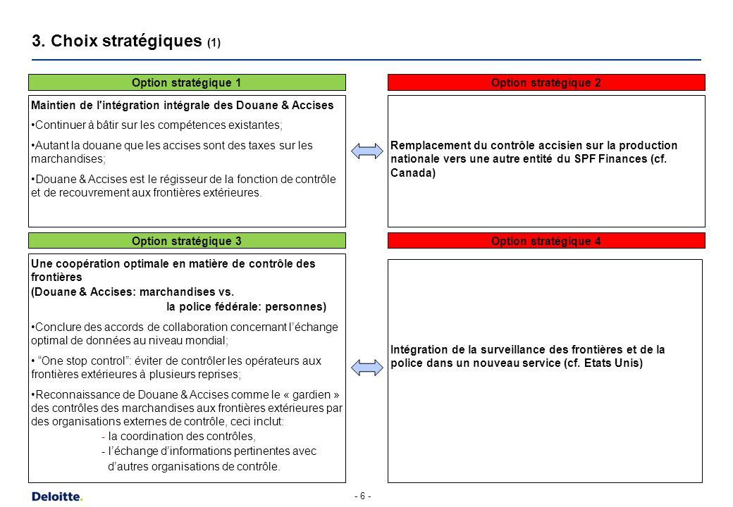 - 6 - 3. Choix stratégiques (1) Maintien de l'intégration intégrale des Douane & Accises Continuer à bâtir sur les compétences existantes; Autant la d
