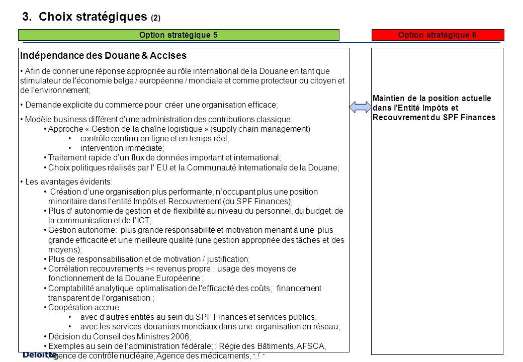 - 7 - 3. Choix stratégiques (2) Indépendance des Douane & Accises Afin de donner une réponse appropriée au rôle international de la Douane en tant que