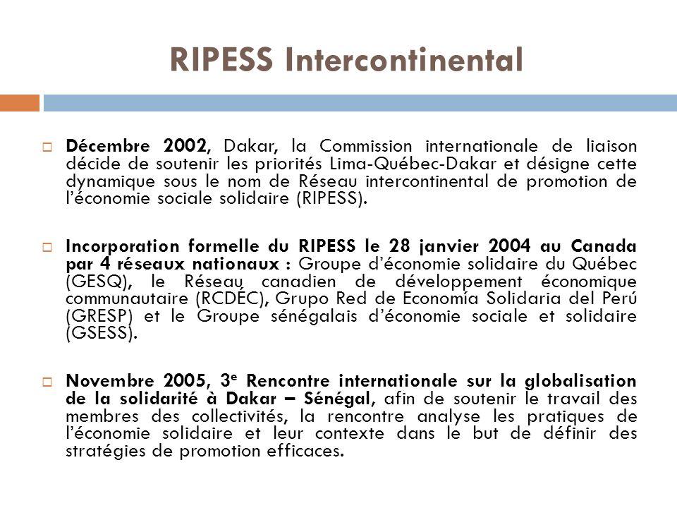 Décembre 2002, Dakar, la Commission internationale de liaison décide de soutenir les priorités Lima-Québec-Dakar et désigne cette dynamique sous le nom de Réseau intercontinental de promotion de léconomie sociale solidaire (RIPESS).