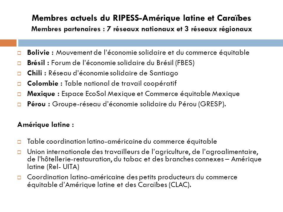 Membres actuels du RIPESS-Amérique latine et Caraïbes Membres partenaires : 7 réseaux nationaux et 3 réseaux régionaux Bolivie : Mouvement de léconomie solidaire et du commerce équitable Brésil : Forum de léconomie solidaire du Brésil (FBES) Chili : Réseau déconomie solidaire de Santiago Colombie : Table national de travail coopératif Mexique : Espace EcoSol Mexique et Commerce équitable Mexique Pérou : Groupe-réseau déconomie solidaire du Pérou (GRESP).