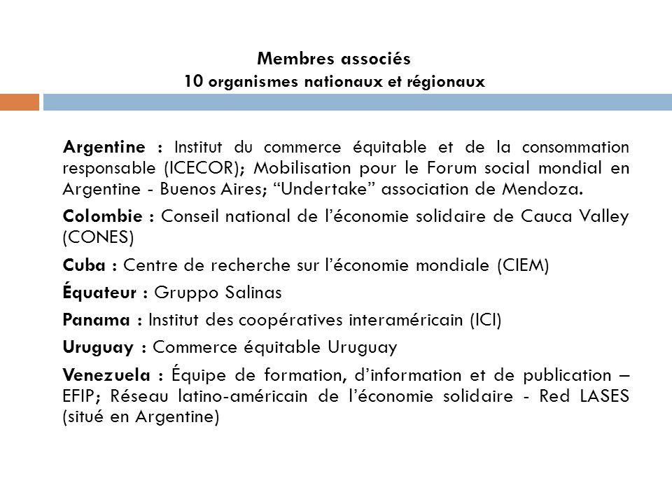 Membres associés 10 organismes nationaux et régionaux Argentine : Institut du commerce équitable et de la consommation responsable (ICECOR); Mobilisation pour le Forum social mondial en Argentine - Buenos Aires; Undertake association de Mendoza.