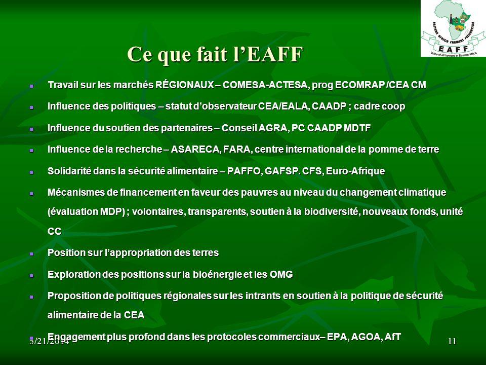 5/21/201411 Ce que fait lEAFF Travail sur les marchés RÉGIONAUX – COMESA-ACTESA, prog ECOMRAP /CEA CM Travail sur les marchés RÉGIONAUX – COMESA-ACTESA, prog ECOMRAP /CEA CM Influence des politiques – statut dobservateur CEA/EALA, CAADP ; cadre coop Influence des politiques – statut dobservateur CEA/EALA, CAADP ; cadre coop Influence du soutien des partenaires – Conseil AGRA, PC CAADP MDTF Influence du soutien des partenaires – Conseil AGRA, PC CAADP MDTF Influence de la recherche – ASARECA, FARA, centre international de la pomme de terre Influence de la recherche – ASARECA, FARA, centre international de la pomme de terre Solidarité dans la sécurité alimentaire – PAFFO, GAFSP.