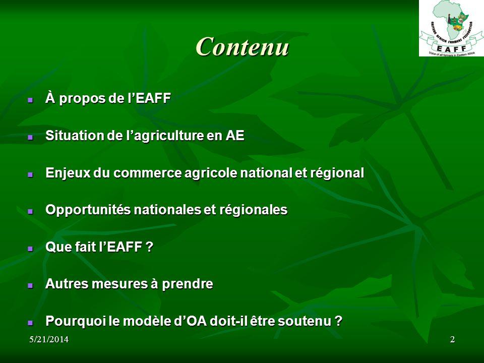 5/21/20142 Contenu À propos de lEAFF À propos de lEAFF Situation de lagriculture en AE Situation de lagriculture en AE Enjeux du commerce agricole national et régional Enjeux du commerce agricole national et régional Opportunités nationales et régionales Opportunités nationales et régionales Que fait lEAFF .