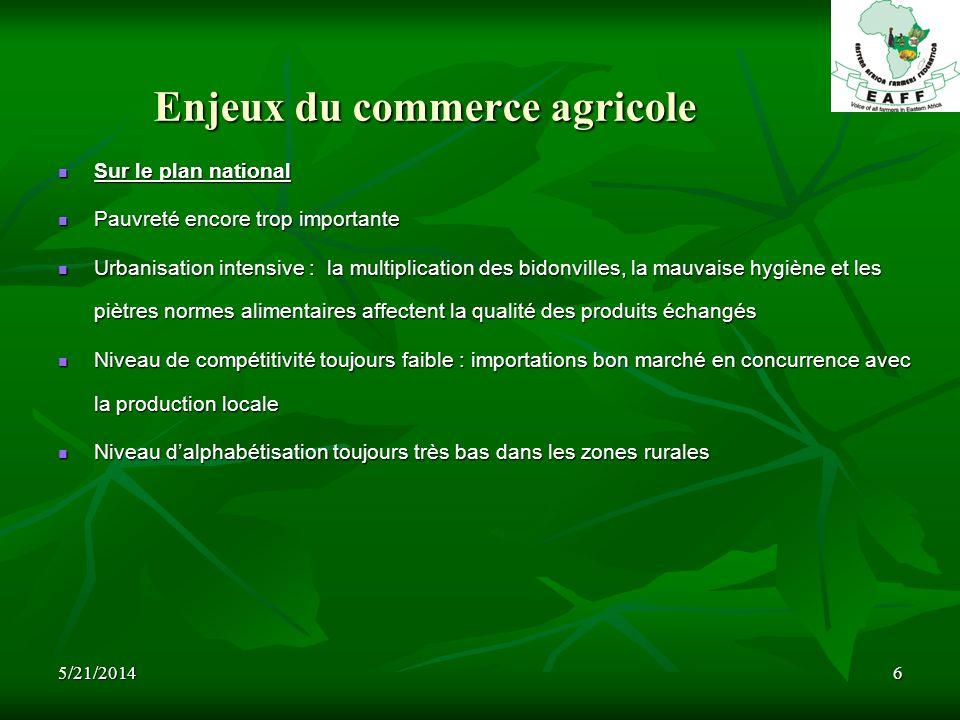 5/21/20146 Enjeux du commerce agricole Sur le plan national Sur le plan national Pauvreté encore trop importante Pauvreté encore trop importante Urban