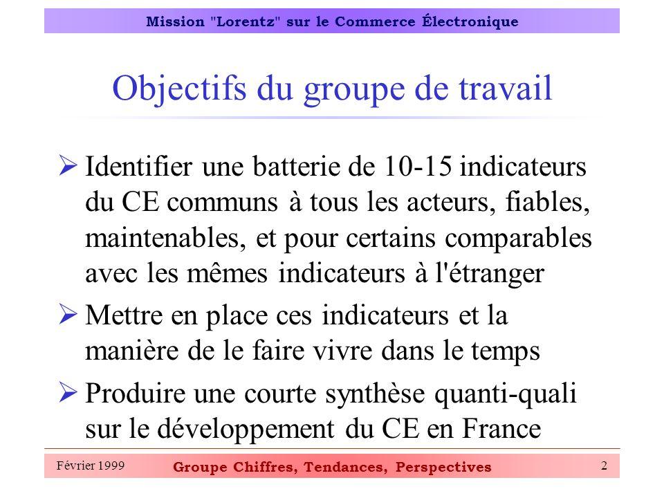 Groupe Chiffres, Tendances, Perspectives Mission Lorentz sur le Commerce Électronique Février 19993 Pourquoi des indicateurs .