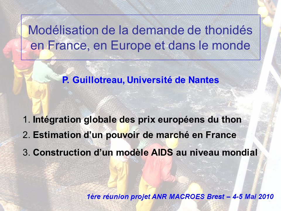 - Contexte groupe CLIOTOP + ISSF (Mahé, SD, IIFET MPL tuna workshop) - Rent-sharing problem between northern and southern countries (Vallée-Guillotreau 2009) + (Squires et al., 2006) recent example of OTEC in Feb 2010: which price should be taken into consideration for an agreement.