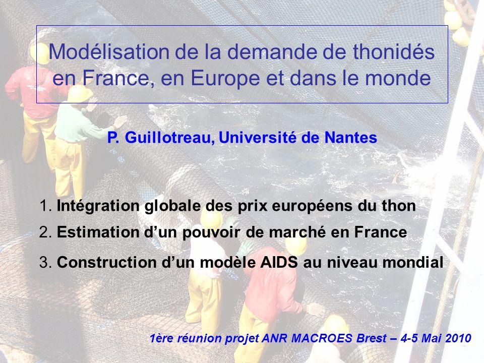Modélisation de la demande de thonidés en France, en Europe et dans le monde 1. Intégration globale des prix européens du thon 2. Estimation dun pouvo