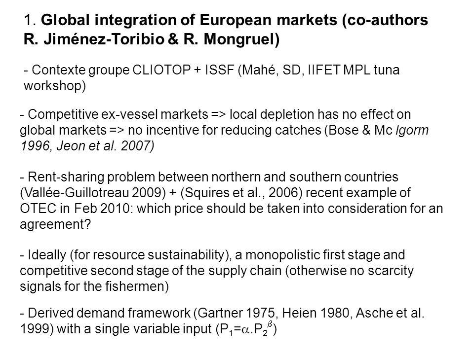 Good market integration at the worldwide level (Jiménez-Toribio et al.