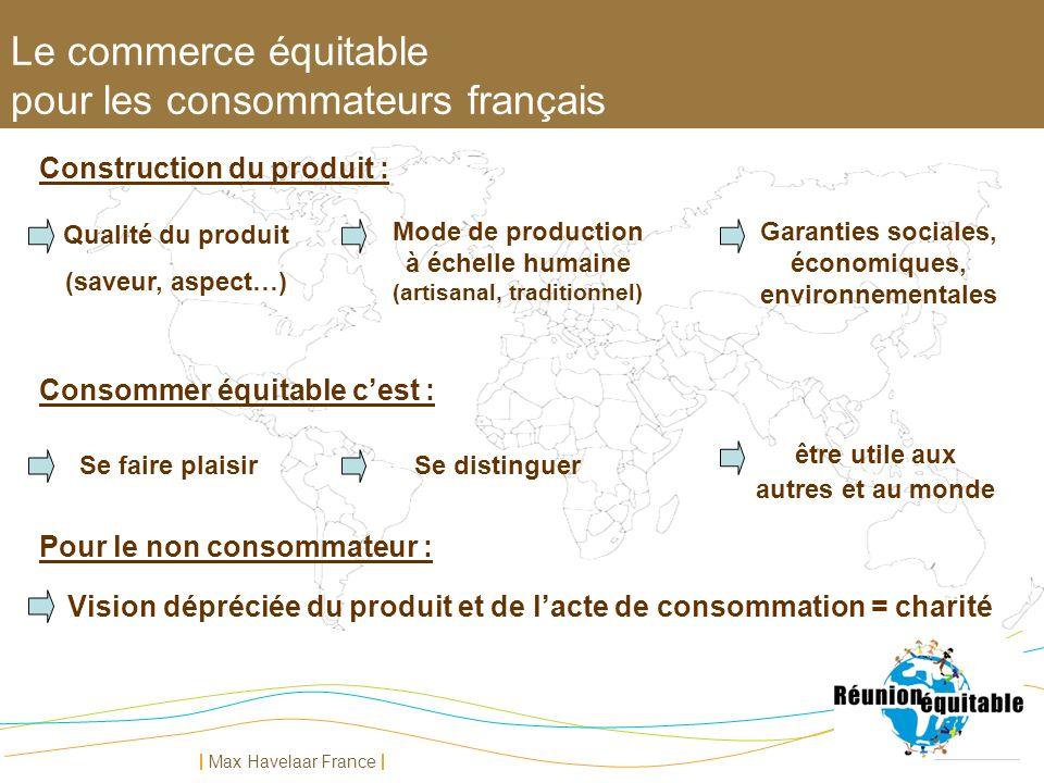 Max Havelaar France Vision dépréciée du produit et de lacte de consommation = charité Qualité du produit (saveur, aspect…) Mode de production à échell