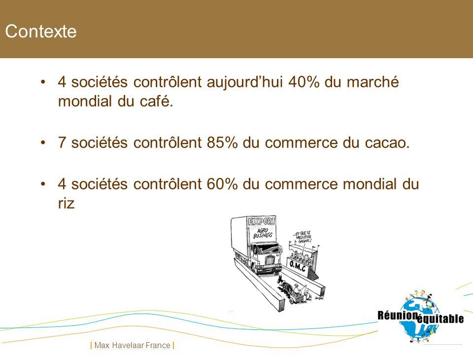 Max Havelaar France 4 sociétés contrôlent aujourdhui 40% du marché mondial du café. 7 sociétés contrôlent 85% du commerce du cacao. 4 sociétés contrôl