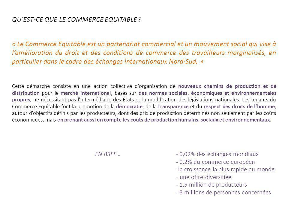 QUEST-CE QUE LE COMMERCE EQUITABLE ? « Le Commerce Equitable est un partenariat commercial et un mouvement social qui vise à lamélioration du droit et