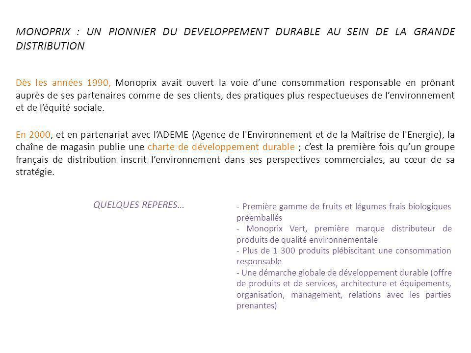 MONOPRIX : UN PIONNIER DU DEVELOPPEMENT DURABLE AU SEIN DE LA GRANDE DISTRIBUTION Dès les années 1990, Monoprix avait ouvert la voie dune consommation