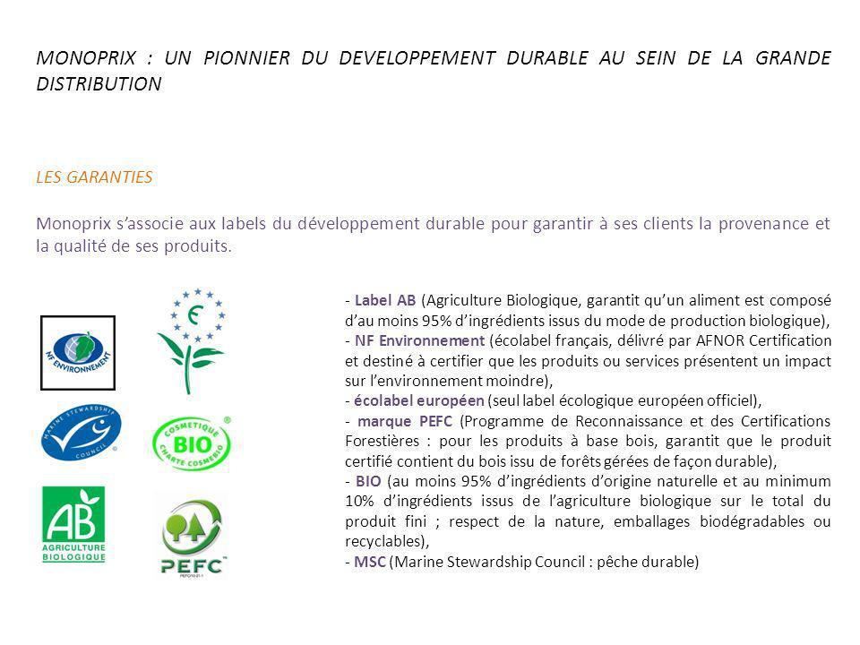 MONOPRIX : UN PIONNIER DU DEVELOPPEMENT DURABLE AU SEIN DE LA GRANDE DISTRIBUTION LES GARANTIES Monoprix sassocie aux labels du développement durable