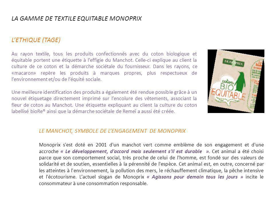 LA GAMME DE TEXTILE EQUITABLE MONOPRIX LE MANCHOT, SYMBOLE DE LENGAGEMENT DE MONOPRIX Monoprix s'est doté en 2001 d'un manchot vert comme emblème de s