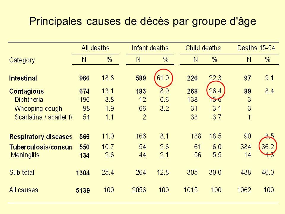 Principales causes de décès par groupe d âge