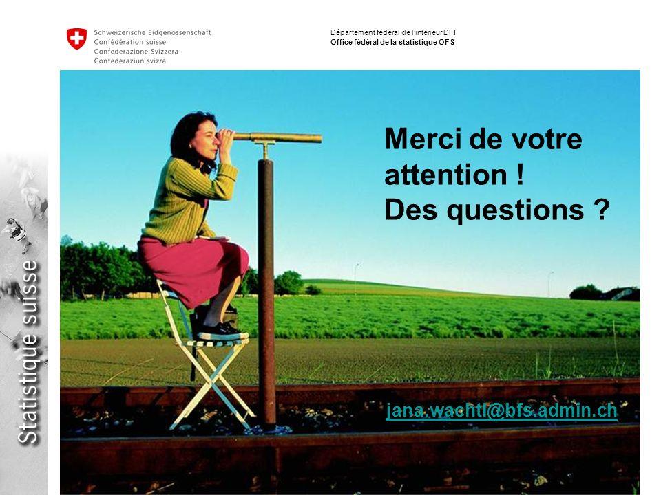 13 La dimension globale du développement durable - Jana Wachtl Journées Suisses de la Statistique 2009 Département fédéral de lintérieur DFI Office fédéral de la statistique OFS Merci de votre attention .