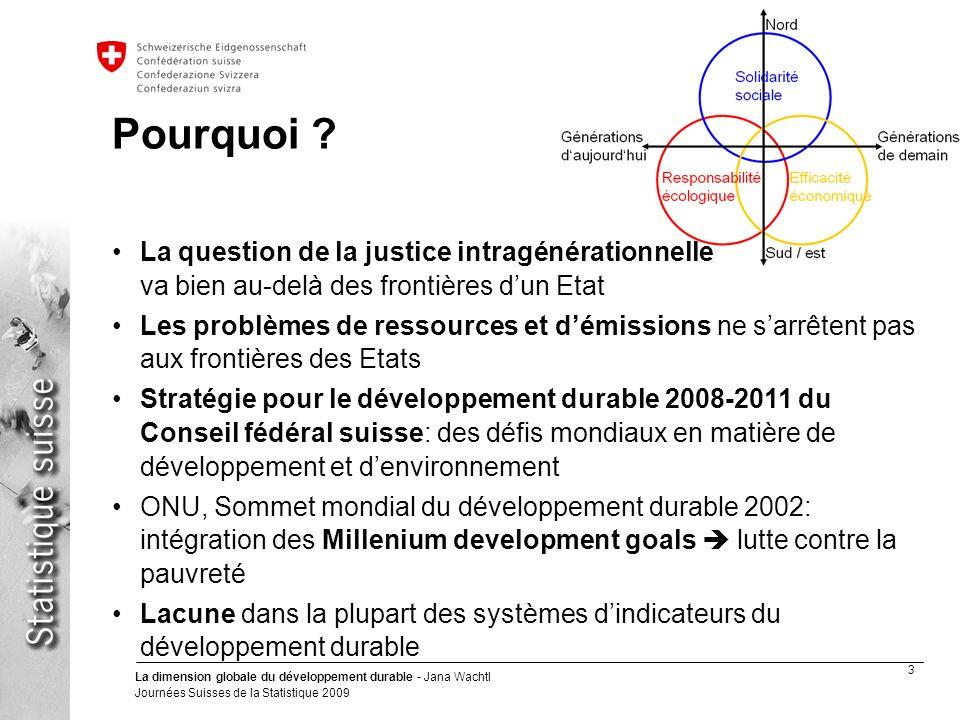 3 La dimension globale du développement durable - Jana Wachtl Journées Suisses de la Statistique 2009 Département fédéral de lintérieur DFI Office fédéral de la statistique OFS Pourquoi .