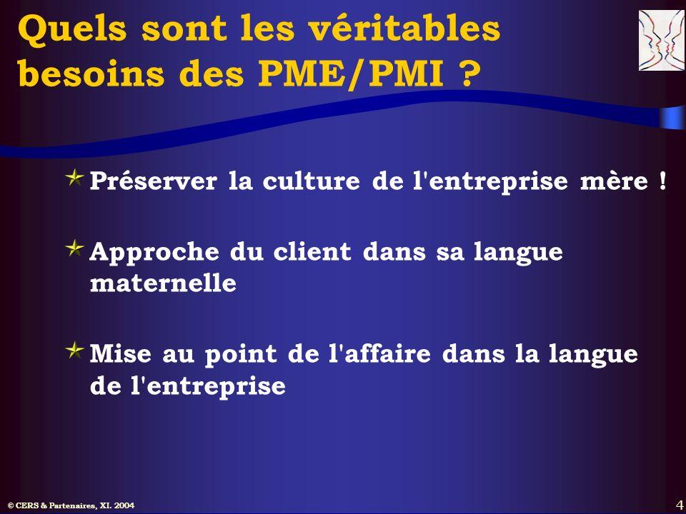 © CERS & Partenaires, XI. 2004 4 Quels sont les véritables besoins des PME/PMI ? Préserver la culture de l'entreprise mère ! Approche du client dans s