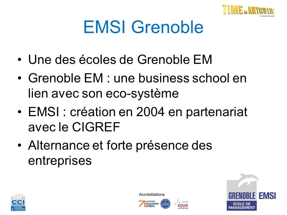 EMSI Grenoble Une des écoles de Grenoble EM Grenoble EM : une business school en lien avec son eco-système EMSI : création en 2004 en partenariat avec le CIGREF Alternance et forte présence des entreprises