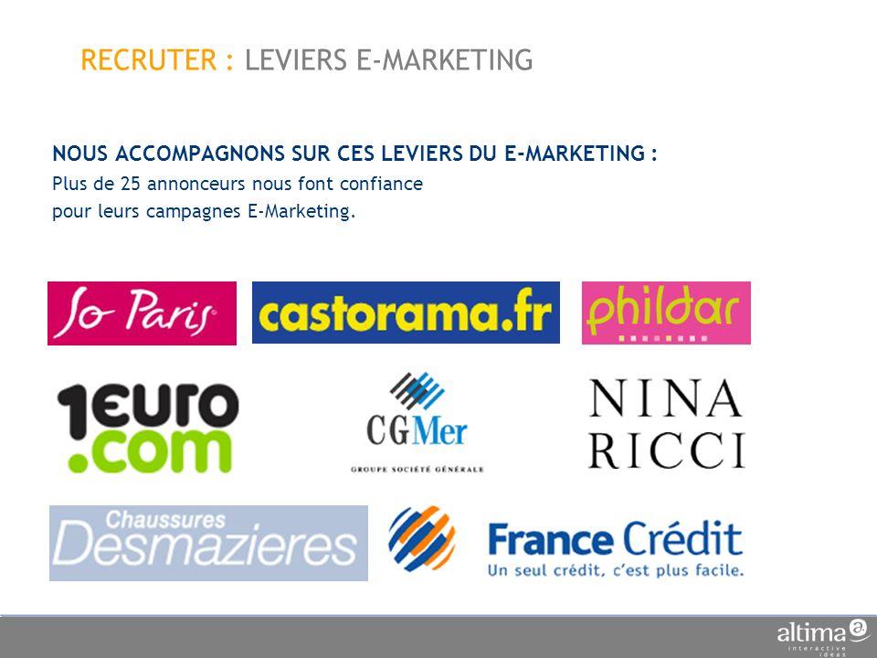 NOUS ACCOMPAGNONS SUR CES LEVIERS DU E-MARKETING : Plus de 25 annonceurs nous font confiance pour leurs campagnes E-Marketing.