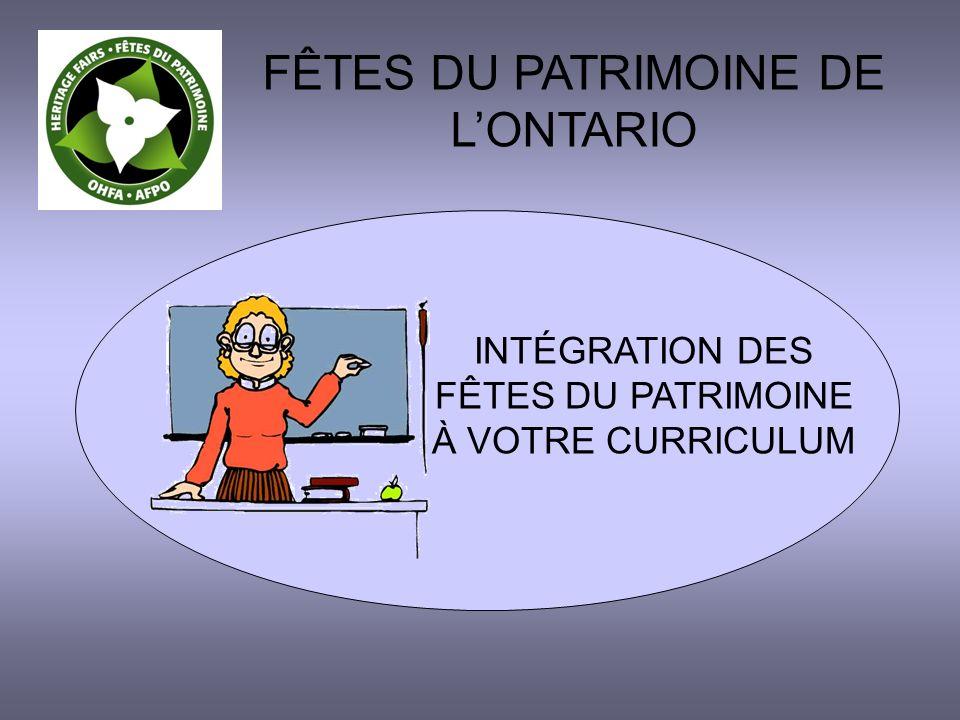 INTÉGRATION DES FÊTES DU PATRIMOINE À VOTRE CURRICULUM FÊTES DU PATRIMOINE DE LONTARIO