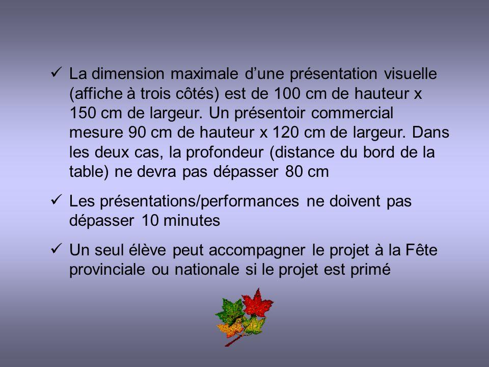 La dimension maximale dune présentation visuelle (affiche à trois côtés) est de 100 cm de hauteur x 150 cm de largeur.