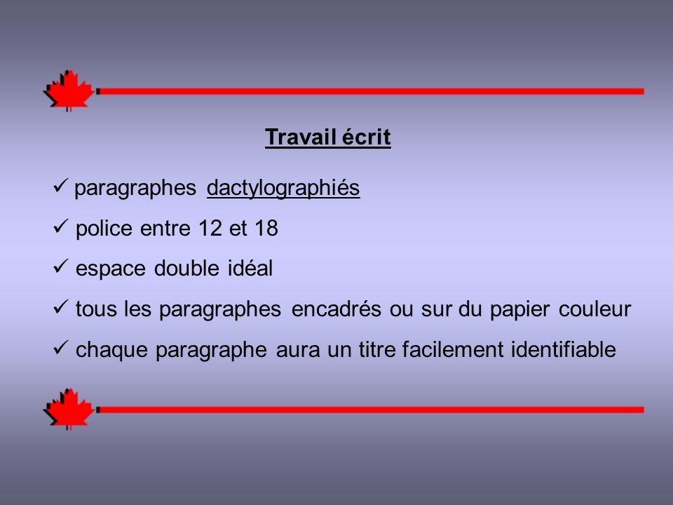 Travail écrit paragraphes dactylographiés police entre 12 et 18 espace double idéal tous les paragraphes encadrés ou sur du papier couleur chaque paragraphe aura un titre facilement identifiable