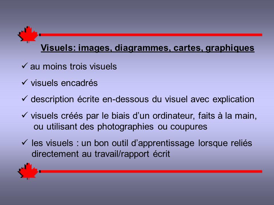 Visuels: images, diagrammes, cartes, graphiques au moins trois visuels visuels encadrés description écrite en-dessous du visuel avec explication visuels créés par le biais dun ordinateur, faits à la main, ou utilisant des photographies ou coupures les visuels : un bon outil dapprentissage lorsque reliés directement au travail/rapport écrit