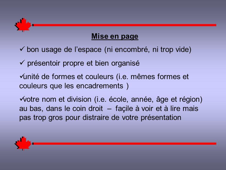 Mise en page bon usage de lespace (ni encombré, ni trop vide) présentoir propre et bien organisé unité de formes et couleurs (i.e.