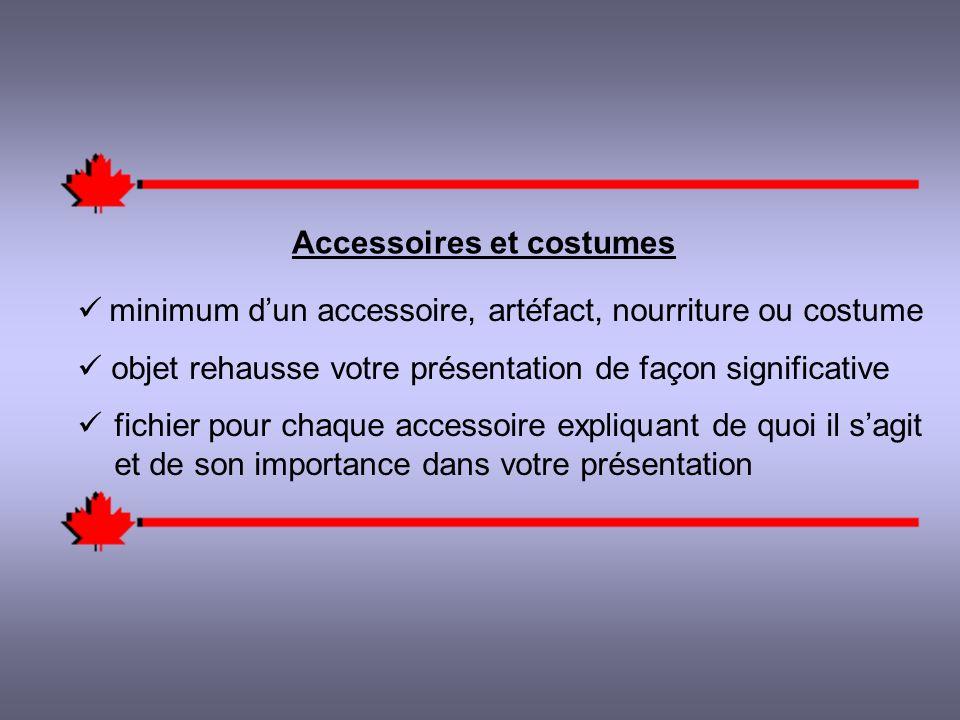 Accessoires et costumes minimum dun accessoire, artéfact, nourriture ou costume objet rehausse votre présentation de façon significative fichier pour chaque accessoire expliquant de quoi il sagit et de son importance dans votre présentation