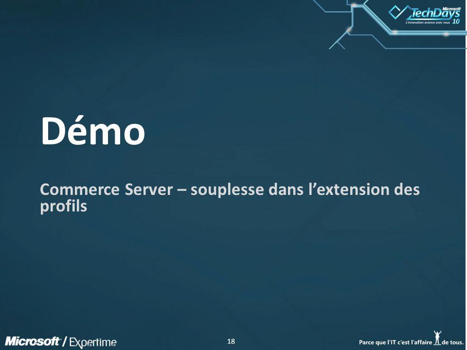 18 / Démo Commerce Server – souplesse dans lextension des profils